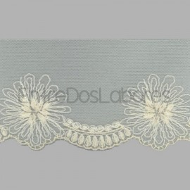 PUNTILLA DE TUL BORDADO - EMBROIDERY 26549.1 CRUDO 82 mm.