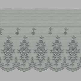 PUNTILLA DE TUL BORDADO - EMBROIDERY I613 C.064 GRIS 110 mm.