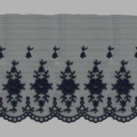 PUNTILLA DE TUL BORDADO - EMBROIDERY I613 C.010 AZUL 110 mm.
