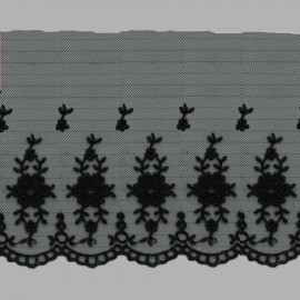 PUNTILLA DE TUL BORDADO - EMBROIDERY I613 C.014 NEGRO 110 mm.