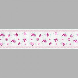 CINTA GROSGRAIN ESTAMPADA FLORES 054476.038.0029 BLANCO 38 mm.