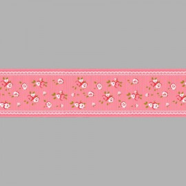 CINTA GROSGRAIN ESTAMPADA FLORES 054476.038.0210 ROSA CHICLE 38 mm.