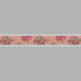 CINTA GROSGRAIN BORDE MARFIL 761302.025.0006 ROSA 25 mm.