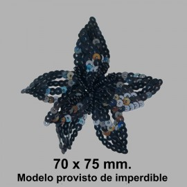 BROCHE FLOR LENTEJUELA C/ IMPERDIBLE 050868.000.002 NEGRO 70x75 mm.