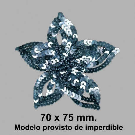 BROCHE FLOR LENTEJUELA C/ IMPERDIBLE 050868.000.027 GRIS PLOMO 70x75 mm.