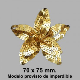 APLIQUE FLOR DE LENTEJUELAS CON IMPERDIBLE 050868.000.0100 ORO 70x75 mm.