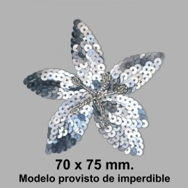 BROCHE FLOR LENTEJUELA C/ IMPERDIBLE 050868.000.101 PLATA 70x75 mm.