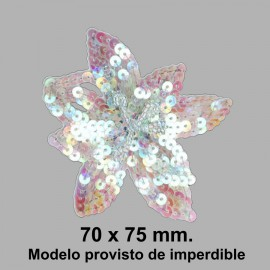 APLIQUE FLOR DE LENTEJUELAS CON IMPERDIBLE 050868.000.0901 IRISADO 70x75 mm.