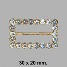 HEBILLA STRASS 020406.000.0372 ORO 30x20 MM.