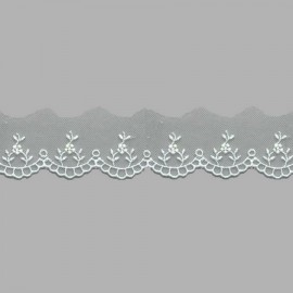 PUNTILLA DE TUL BORDADO - EMBROIDERY I611 C.001 BLANCO 30 mm.