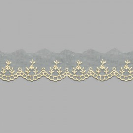 PUNTILLA DE TUL BORDADO - EMBROIDERY I611 C.002 BEIGE 30 mm.