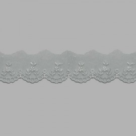 PUNTILLA DE TUL BORDADO - EMBROIDERY I611 C.064 GRIS 30 mm.