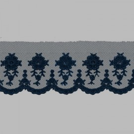 PUNTILLA DE TUL BORDADO - EMBROIDERY I612 C.010 AZUL 54 mm.