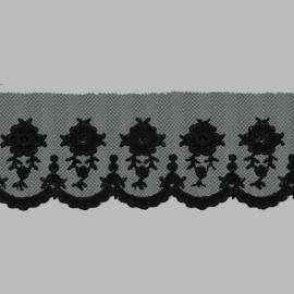 PUNTILLA DE TUL BORDADO - EMBROIDERY I612 C.014 NEGRO 54 mm.