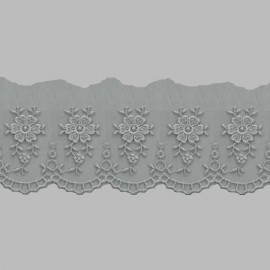 PUNTILLA DE TUL BORDADO - EMBROIDERY I612 C.064 GRIS 54 mm.