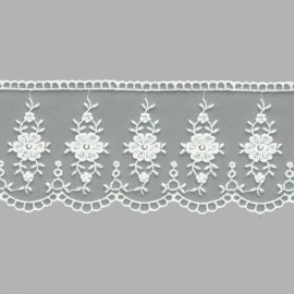 PUNTILLA DE TUL BORDADO - EMBROIDERY I616 C.001 BLANCO 70 mm.