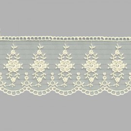 PUNTILLA DE TUL BORDADO - EMBROIDERY I616 C.002 BEIGE 70 mm.