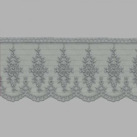 PUNTILLA DE TUL BORDADO - EMBROIDERY I616 C.064 GRIS 70 mm.