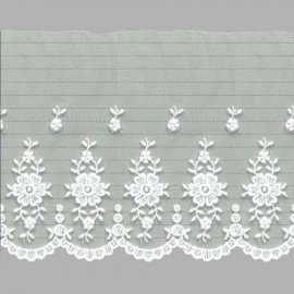 PUNTILLA DE TUL BORDADO - EMBROIDERY I613 C.001 BLANCO 110 mm.