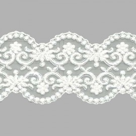TUL BORDADO - EMBROIDERY I626 C.018 IVORY (MARFIL) 77 mm.