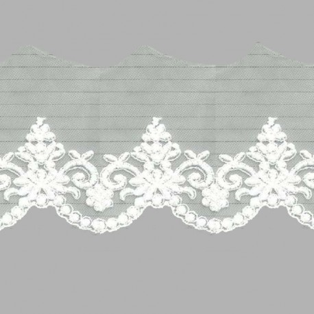 TUL BORDADO - EMBROIDERY I628 C.018 IVORY (MARFIL) 76 mm.