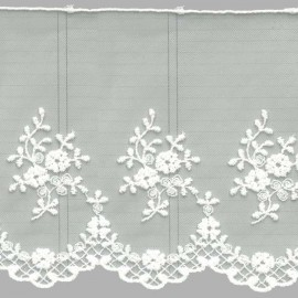 PUNTILLA DE TUL BORDADO - EMBROIDERY I672 C.001 BLANCO 130 mm.