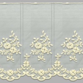 PUNTILLA DE TUL BORDADO - EMBROIDERY I672 C.002 BEIGE 130 mm.