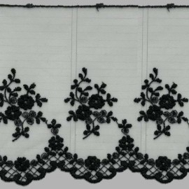PUNTILLA DE TUL BORDADO - EMBROIDERY I672 C.014 NEGRO 130 mm.