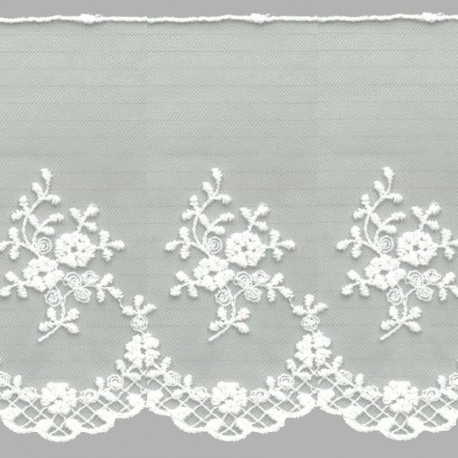 TUL BORDADO - EMBROIDERY I672 C.018 IVORY (MARFIL) 136 mm.