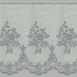 PUNTILLA DE TUL BORDADO - EMBROIDERY I672 C.064 GRIS 130 mm.