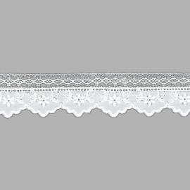 TIRA BORDADA-EMBROIDERY ALGODÓN I542 C.001 BLANCO 33 mm.