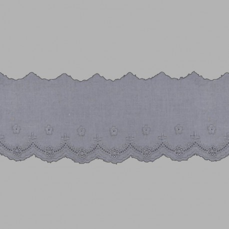 PUNTILLA DE TIRA BORDADA - EMBROIDERY I805 C.064 GRIS 55 mm.