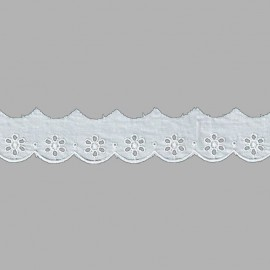 PUNTILLA DE TIRA BORDADA - EMBROIDERY I591 C.001 BLANCO 28 mm.