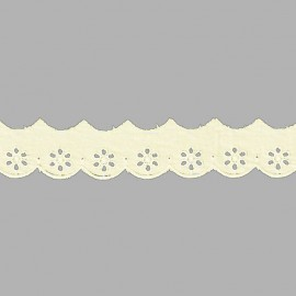 PUNTILLA DE TIRA BORDADA - EMBROIDERY I591 C.002 BEIGE 28 mm.