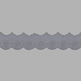 PUNTILLA DE TIRA BORDADA - EMBROIDERY I591 C.064 GRIS 28 mm.