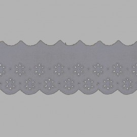 PUNTILLA DE TIRA BORDADA - EMBROIDERY I592 C.064 GRIS 55 mm.