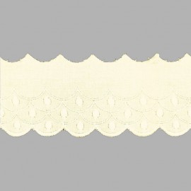 PUNTILLA DE TIRA BORDADA - EMBROIDERY I601 C.002 BEIGE 60 mm.