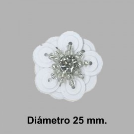 FLOR PAILLETES ROCALLA 858082.000.0001 BLANCO 20 mm.