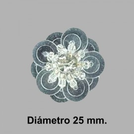 FLOR PAILLETES ROCALLA 858082.000.0101 PLATA 20 mm.