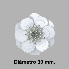 FLOR PAILLETES ROCALLA 858083.000.0001 BLANCO 30 mm.