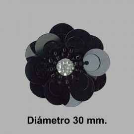 FLOR PAILLETES ROCALLA 858083.000.0002 NEGRO 30 mm.