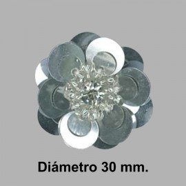 FLOR PAILLETES ROCALLA 858083.000.0101 PLATA 30 mm.