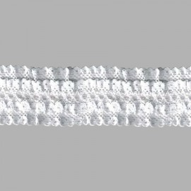 FRUNCIDO DE NYLON DOBLE 074019 C.000 BLANCO 43 mm.