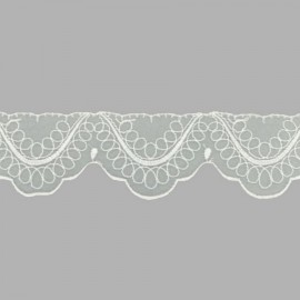 PUNTILLA DE BORDADO EN ORGANZA - EMBROIDERY 32214 C.001 BLANCO 40 mm.