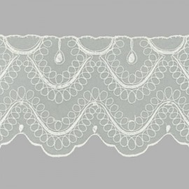 PUNTILLA DE BORDADO EN ORGANZA - EMBROIDERY 32216 C001 BLANCO 90 mm.