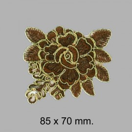 APLIQUE FLOR SOUTACH 654030.000.0025 Marrón-oro 85x70 mm.