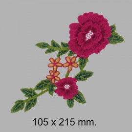 APLIQUE FLOR BORDADA 665324.000.0003 FUCSIA 105x215 mm.
