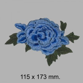 APLIQUE FLOR BORDADA 665325.000.0019 AZUL 115x173 mm.