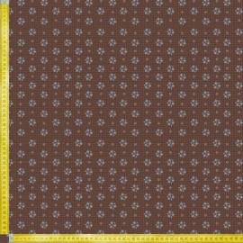 TELA DE PATCHWORK RILEY BLAKE - PRAIRIE ROSE FLOWER BROWN