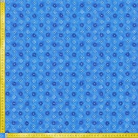 TELA DE PATCHWORK FABRI QUILT - BUDDING BEAUTIES SMALL MEDALLION BLUE